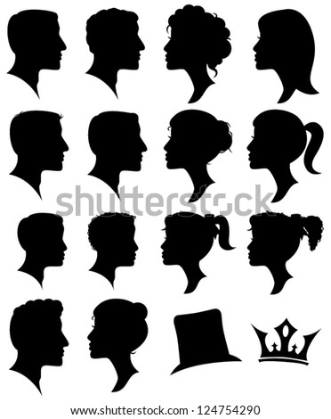 Vector Set of Female and Male Adult and Child Cameo Silhouettes - stock vector