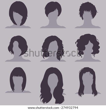 Vector Set of Female  Hairdress. Types of Women Hairstyles. - stock vector