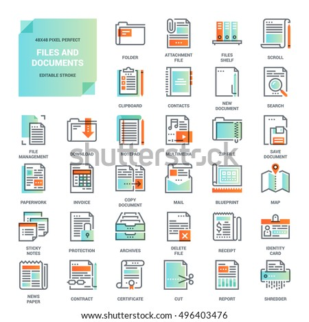 Vector set files documents paper work vectores en stock 496403476 vector set of files and documents paper work office and business flat line web malvernweather Gallery