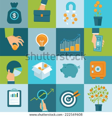 Vector set of finance and business concepts in flat style - investing and attracting capital to business - stock vector