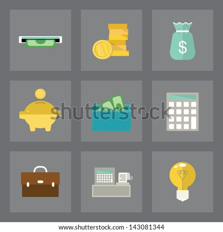 Vector set of finance icons in modern flat design on gray background - stock vector