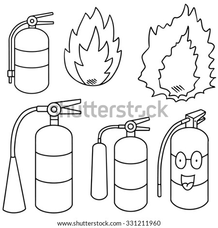 vector set of fire extinguisher - stock vector