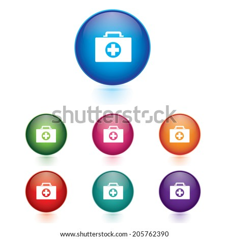 Vector - Set of first aid icons - stock vector