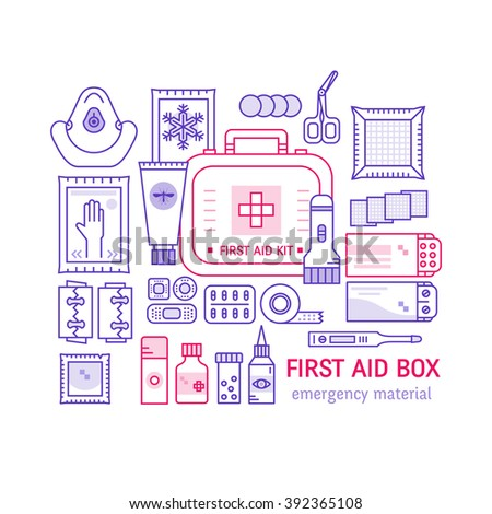 Vintage first aid kit clip art