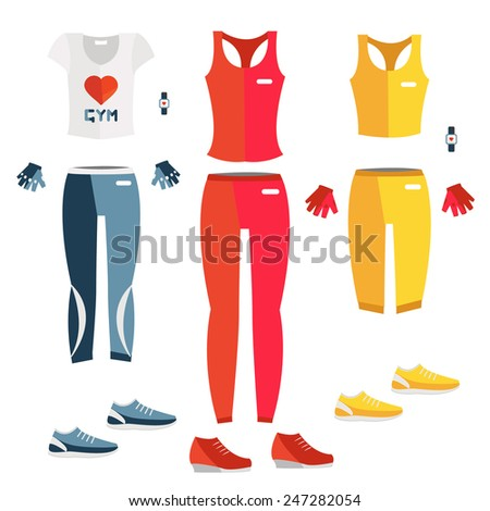 Vector set of fitness dress. Flat icon of fitness dress. Fitness elements. Vector fitness set. Fitness woman set. Vector flat design of fitness. Fitness details. Fitness woman. Fitness equipments.  - stock vector