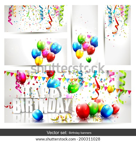 Vector set of five colorful birthday banners with confetti and balloons  - stock vector