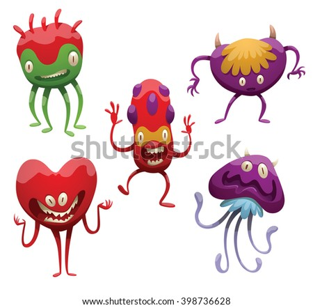 Vector set of five funny cartoon monsters. Various monsters of different colors on a white background. Cartoon different monsters. Set of monsters. Vector cartoon monsters. Vector illustration. - stock vector