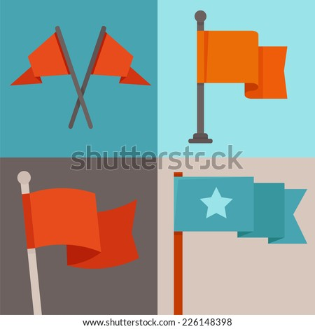 Vector set of flag design elements - flags and ribbons - stock vector