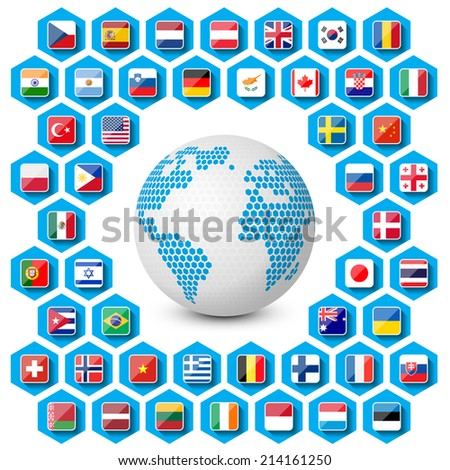vector set of flag icons with globe - stock vector