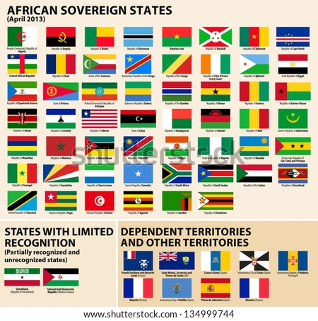 Vector set of Flags of sovereign states and other territories of Africa April 2013). - stock vector