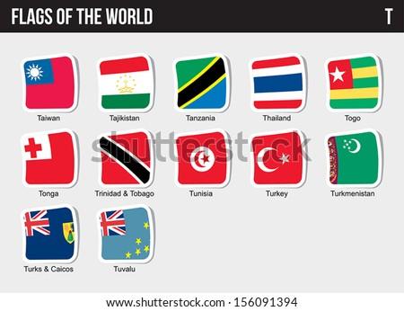 Vector set of Flags world sorted alphabetically. - stock vector