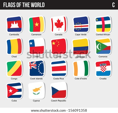 Vector set of Flags world sorted alphabetically. (C) - stock vector