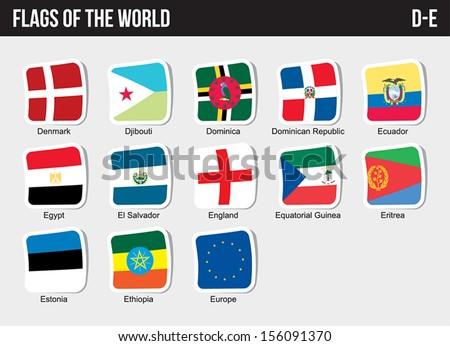 Vector set of Flags world sorted alphabetically. (D-E) - stock vector