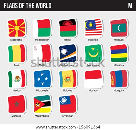 Vector set of Flags world sorted alphabetically. (M) - stock vector