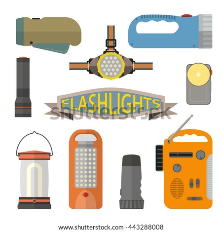 Vector set of flashlights in flat style. Design elements and icons isolated on white background. Headlight, hand lamp, torch. - stock vector