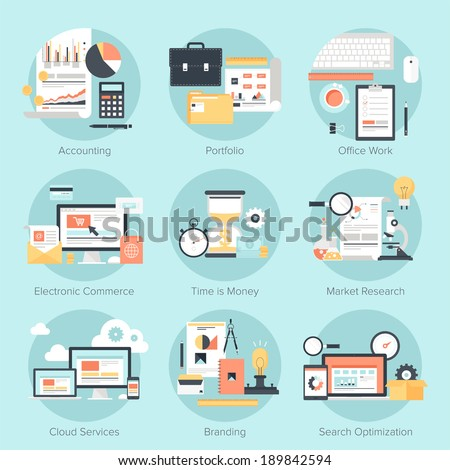Vector set of flat and colorful concepts on business and finance, electronic commerce, marketing, office, branding, cloud services and SEO theme . Design elements for web and mobile applications. - stock vector