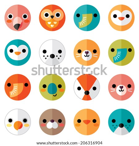 Vector set of flat animal and bird face icons in bright retro colors for stickers, cards, labels and tags. Seamless, isolated on white, minimal style, folded paper design. - stock vector