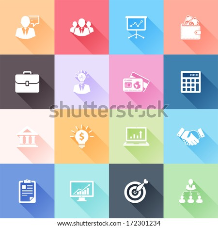 Vector set of 16 flat business icons with long shadow - stock vector