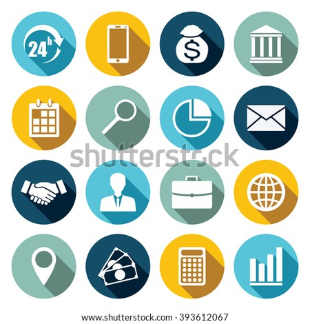 Vector set of 16 flat business icons with long shadow.
