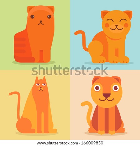 Vector set of flat cat icons and illustrations - funny cartoon characters