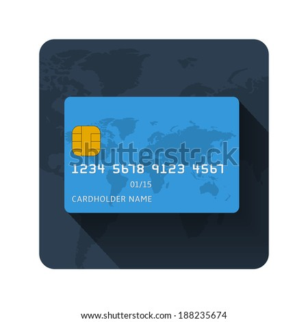 Vector set of flat credit card icon on white background