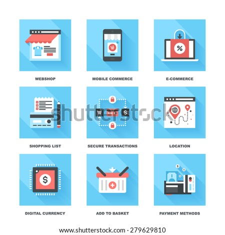 Vector set of flat digital commerce icons on following themes - webshop, mobile commerce, ecommerce, shopping list, secure transactions, navigation, digital money, add to basket, payment methods. - stock vector