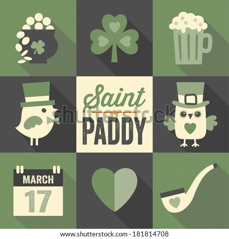 Vector set of flat icon designs with long shadow for St. Patrick's Day in green, cream and black. - stock vector