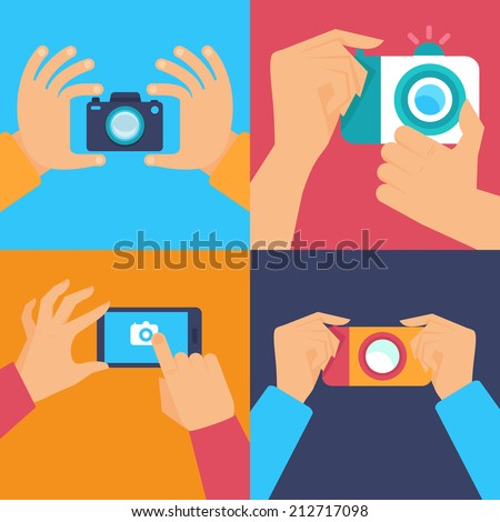 Vector set of flat icons - cameras and mobile photography - stock vector