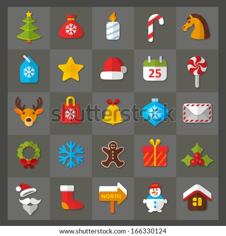 Vector set of flat icons. Christmas & New Year theme.