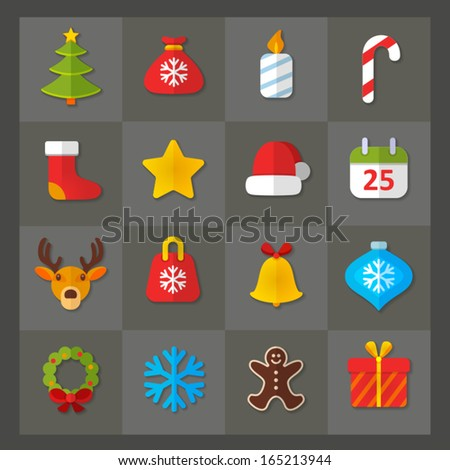 Vector set of flat icons. Christmas & New Year theme. Colorful symbols of tree, gift bag,  candle, sweets, star, cap, calendar, deer, xmas toy, bell, snowflake, garland,  wreath, biscuit cookie
