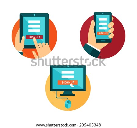Vector set of flat icons computer, smartphone and tablet with sign-up button - stock vector