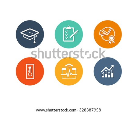 Vector set of flat icons for academy or school education such as exam, graduation and quality assurance and statistics - stock vector