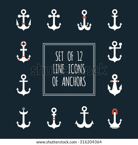 Vector set of 12 flat icons of vintage marine anchors on isolated background. Various forms and shape. Could be used as elements of heraldic or nautical design.