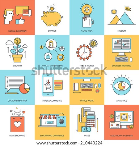Vector set of flat line concepts on business and finance theme . Design elements for web and mobile applications. - stock vector