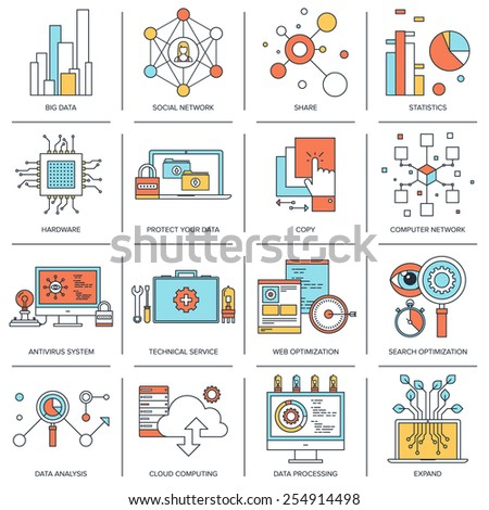 Vector set of flat line concepts on technology theme . Design elements for web and mobile applications. - stock vector