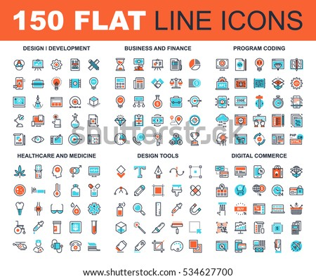 Vector set of 150 flat line web icons on following themes - design and development, business and finance, program coding, healthcare and medicine, design tools, digital commerce.