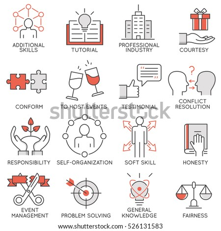 Vector set of flat linear icons related to business management, strategy, career progress and business process. Mono line flat pictograms and design elements - 2