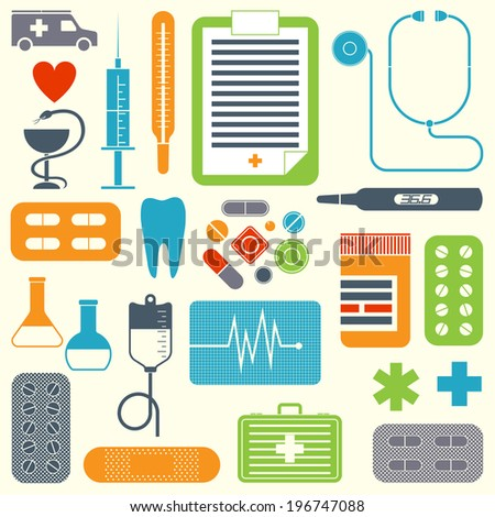 Vector set of flat medical icons isolated on light background - stock vector