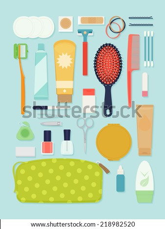 Vector set of flat modern travel toiletry items for ladies | Travel hygienic and beauty essentials for women | Voyage toiletries check list items - stock vector