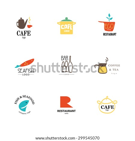 Vector set of flat simple Italian restaurant logo isolated on white background. Eco, fast food, sushi, pizza, fish sea food company insignia. Coffee shop, tea store icon. Dish elements. Business card. - stock vector