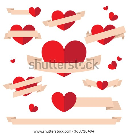 Vector set of flat valentine's day banners and badges. Great for web design, invitations, greeting cards.