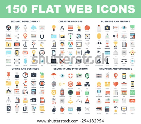 Vector set of 150 flat web icons on following themes - SEO and development, creative process, business and finance, office and business, security and protection, shopping and commerce. - stock vector