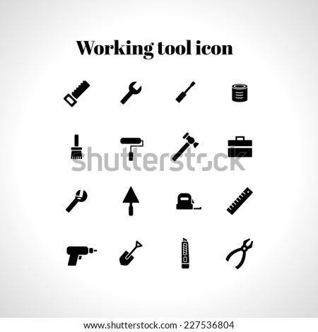 Vector set of 16 flat working tools icons  - stock vector