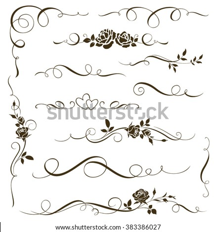 Ornamental stock images royalty free images vectors shutterstock vector set of floral calligraphic elements dividers and rose ornaments for page decoration and frame junglespirit Image collections