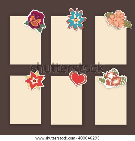 vector set of floral cards. Greeting card for mother's day, wedding or birthday. Flower stickers La website design or print.