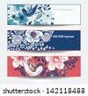 vector set of floral cards with birds and blooming flowers - stock vector