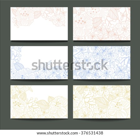 vector set of floral cards with linear hand drawn blooms