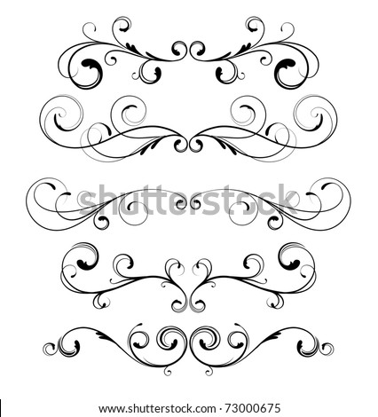 Vector set of floral decorative ornament page rules - stock vector