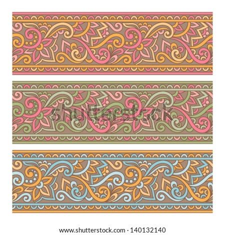 Vector set of floral elements. Seamless pattern for frames and borders - stock vector