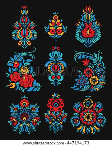 Vector set of floral elements. Traditional Russian ornament. Seamless pattern for frames and borders.